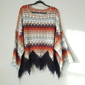 Free People crochet fringe hem sweater